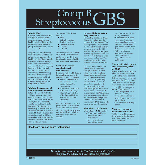 Group B Streptococcus GBS tear pad, blue paper black text questions answers, Childbirth Graphics 52110