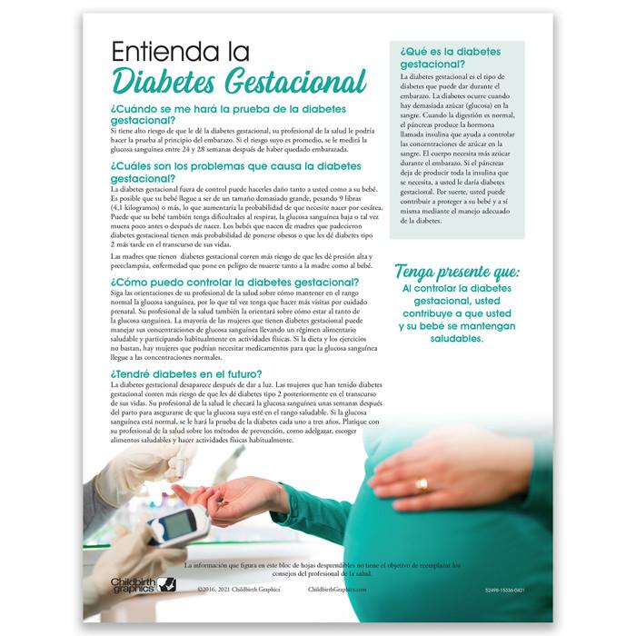 Understanding Gestational Diabetes 2-color Tear Pad Spanish side, Childbirth Graphics, 52498