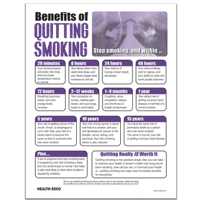 Benefits of Quitting Smoking Tear Pad from Health Edco with benefits from minutes to years after smoking cessation, 52502