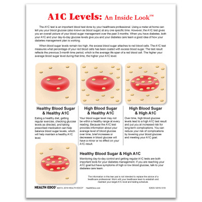 A1C Levels: An Inside Look diabetes education tear pad from Health Edco explaining how the A1C test works, English, 52503