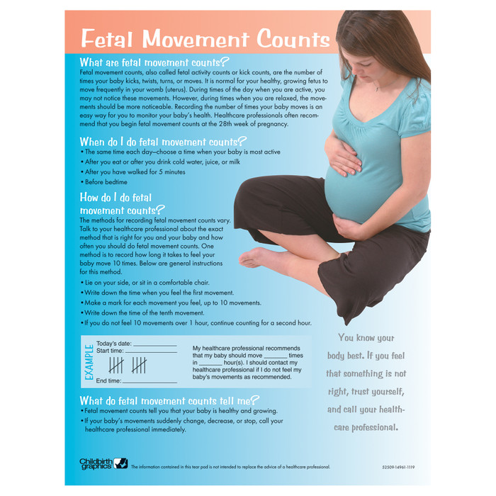 Fetal Movement Counts Tear Pad for pregnancy education from Childbirth Graphics with instructions to count fetal kicks, 52509