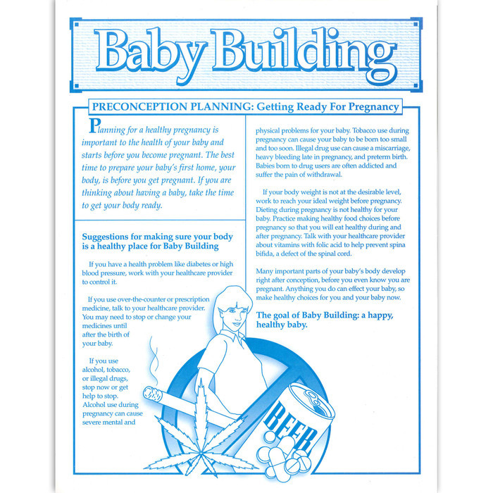 Baby Building Preconception Planning getting ready for pregnancy 1-color tear pad, Childbirth Graphics, 52524