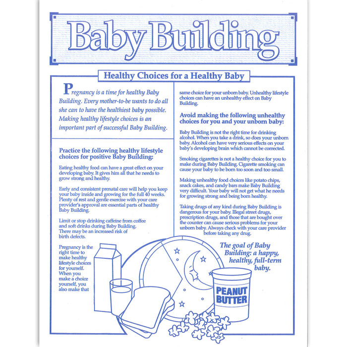 Baby Building Healthy Choices for a Healthy Baby 1-color tear pad, healthy vs unhealthy choices, Childbirth Graphics, 52525