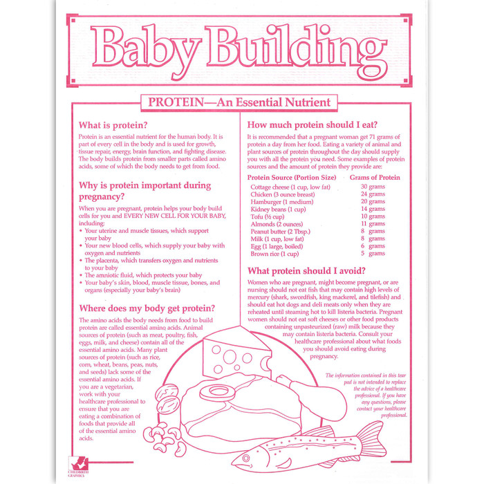 Baby Building protein 1-color tear pad, proteins to include and to avoid when pregnant, Childbirth Graphics, 52527