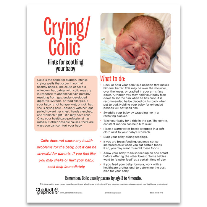 Crying & Colic tear pad for parenting education from Childbirth Graphics with hints to soothe a baby, English text, 52533