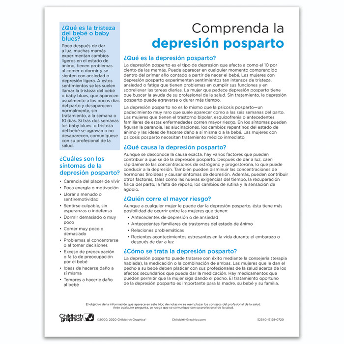 Understanding Postpartum Depression Tear Pad by Childbirth Graphics, Spanish side of educational handout for new moms, 52540