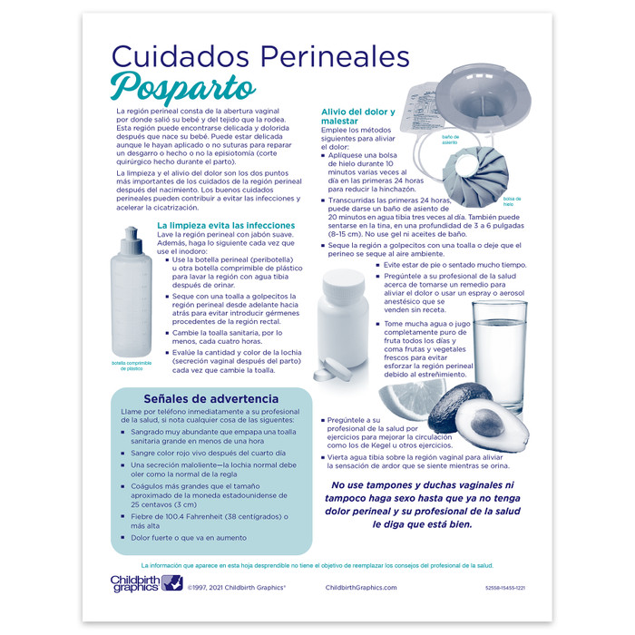 Perineal Care 2-color illustrated tear pad Spanish side, postpartum care and warning signs, Childbirth Graphics, 52558