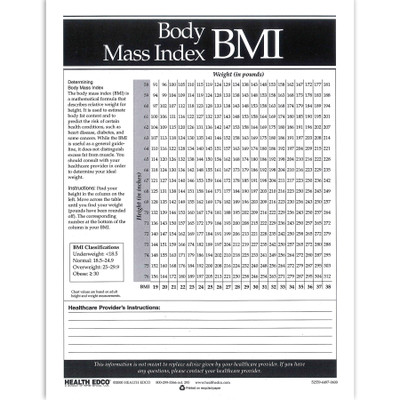 Body Mass Index 1-color tear pad, BMI chart with room for healthcare provider comments, Health Edco, 52559