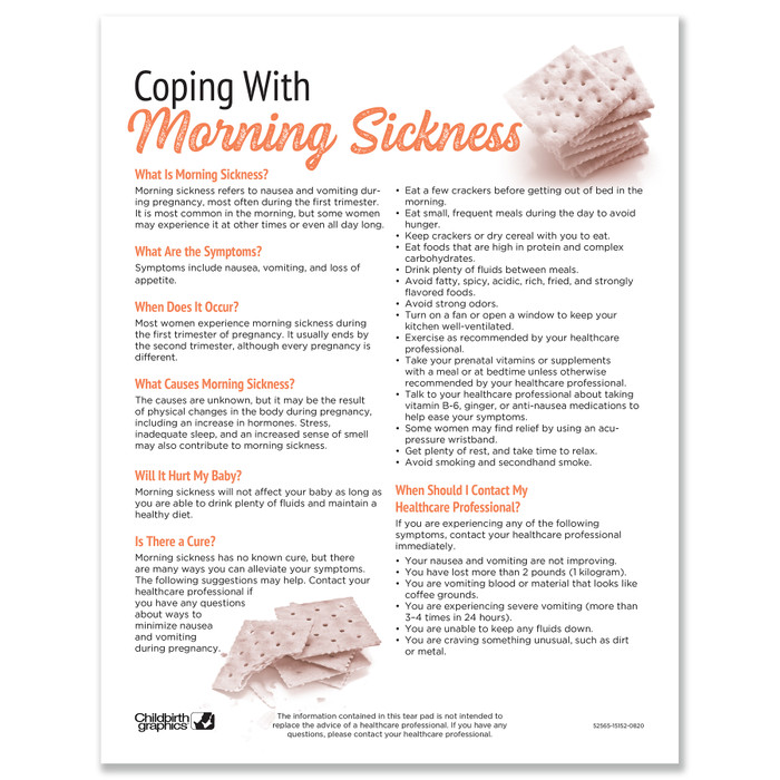 Coping With Morning Sickness Tear Pad childbirth education handout by Childbirth Graphics, patient information English, 52565