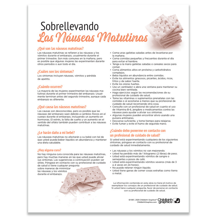 Coping With Morning Sickness Tear Pad childbirth education handout by Childbirth Graphics, patient information Spanish, 52565