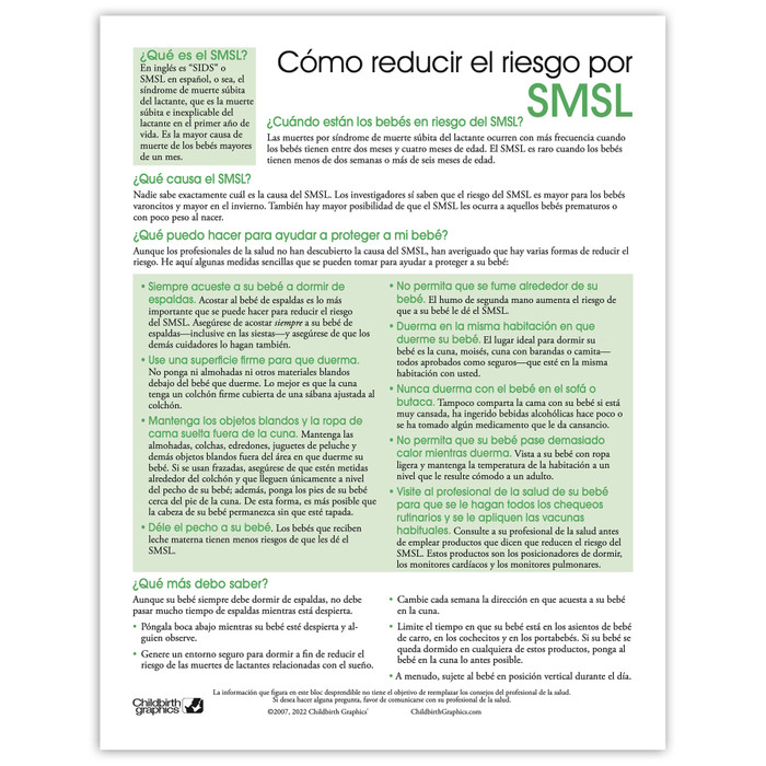 Reducing the Risk of SIDS 2-color tear pad Spanish side, what SIDS is causes protection, Childbirth Graphics 52570