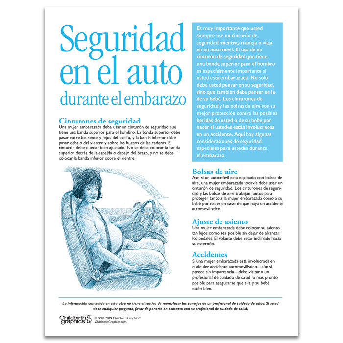 Car Safety During Pregnancy Tear Pad for childbirth and pregnancy education from Childbirth Graphics, Spanish text, 52574