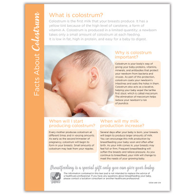 Facts About Colostrum Tear Pad for breastfeeding education from Childbirth Graphics, lactation teaching materials, 52598