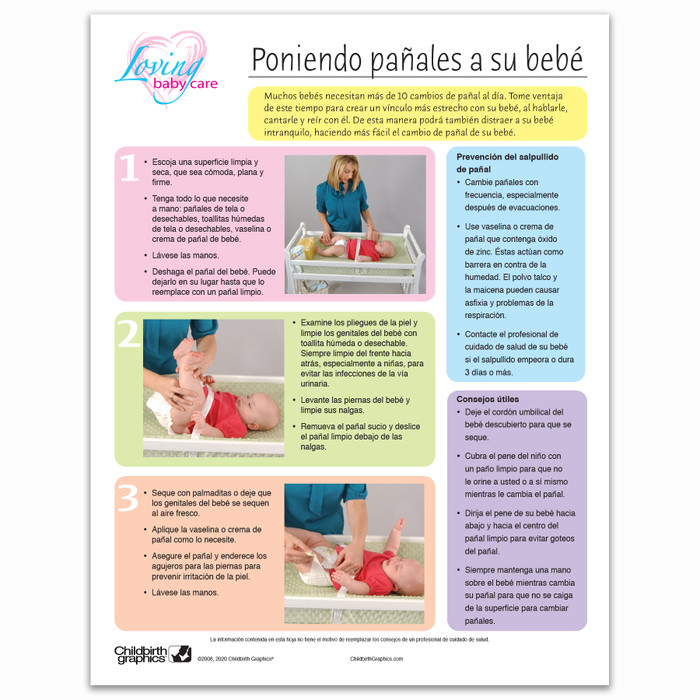Loving Baby Care Diapering Your Baby Tear Pad by Childbirth Graphics Spanish text to teach diapering techniques, 52606