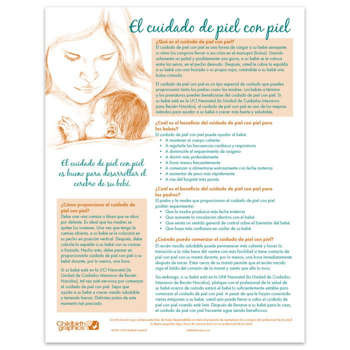 Skin to Skin Tear Pad for parent education by Childbirth Graphics, Spanish side to teach kangaroo care of infants, 52608