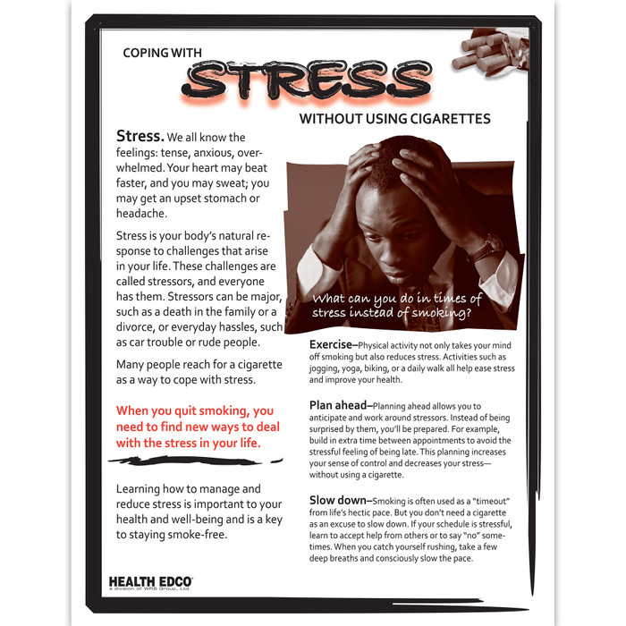 Coping with Stress without cigarettes 2-color 2-sided tear pad front, tips for reducing stress, Health Edco, 52609