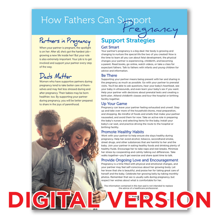 How Fathers Can Support Pregnancy Tear Pad, Virtual, English and Spanish childbirth education tool in digital format, 52618V