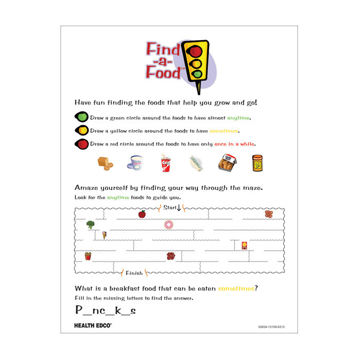 Find a Food Tear Pad, activities for children go slow and whoa, Health Edco, 52624