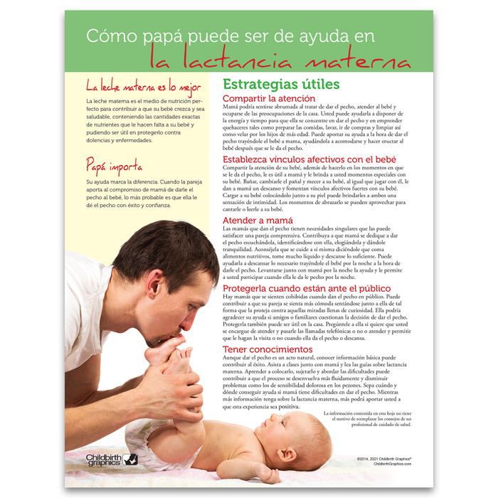 How Fathers Can Support Breastfeeding Tear Pad, Spanish side, lactation education materials, Childbirth Graphics, 52652