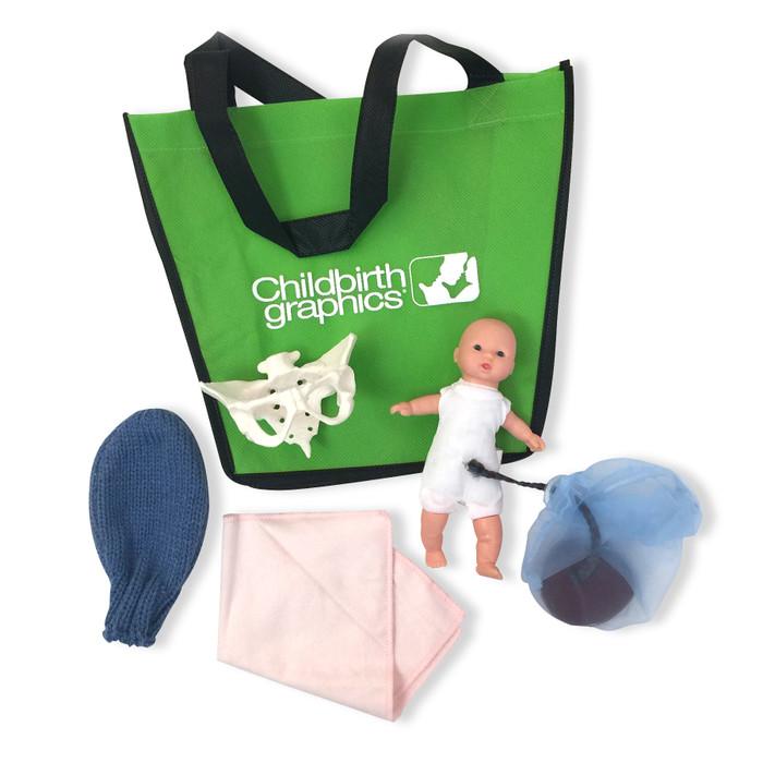 Mini-Model Set: Pocket Uterus, Baby, and Pelvis for childbirth education by Childbirth Graphics, birth teaching tools, 53953