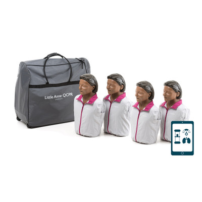 Little Anne QCPR-4-Pack-Brown, CPR training manikins set of four in brown skin tone with accessories, Health Edco, 56040