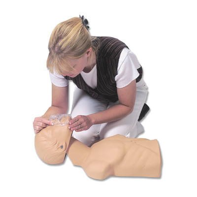 Economy Adult Sani-Manikin for CPR training, user putting face shield over manikin mouth for CPR practice, Health Edco, 56046