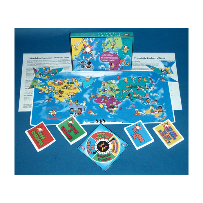 Friendship Explorers Game, game board cards spinner world map for grades 1-7, Health Edco, 70048