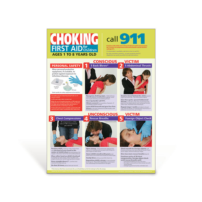 Children's Choking Poster, photo step by step procedure for conscious or unconscious victim, Health Edco, 70167