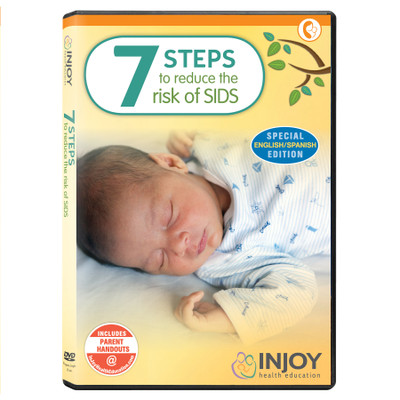 InJoy's 7 Steps to Reduce the Risk of SIDS DVD, English/Spanish, available at Childbirth Graphics, educational videos, 71457