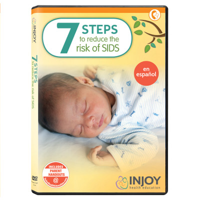 InJoy's 7 Steps to Reduce the Risk of SIDS DVD, Spanish, parenting video available from Childbirth Graphics, 71537