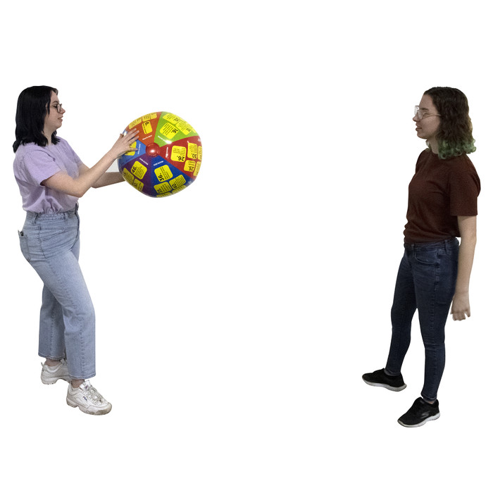 Students tossing and playing with the Drugs and Alcohol Throw & Know Activity Ball for health education, Health Edco, 78036