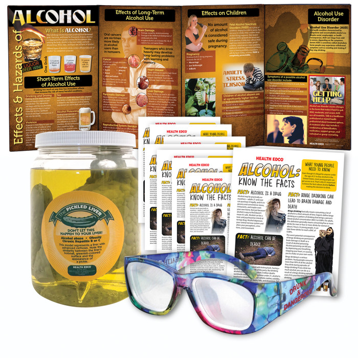 Alcohol Education Kit for health education from Health Edco with educational display, drunk glasses, and liver model, 78620