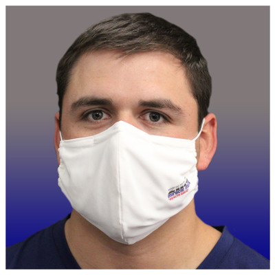 Zinc Miracle Mask by Health Edco, man shown from front wearing white cloth face mask made of zinc-infused fabric, 78847