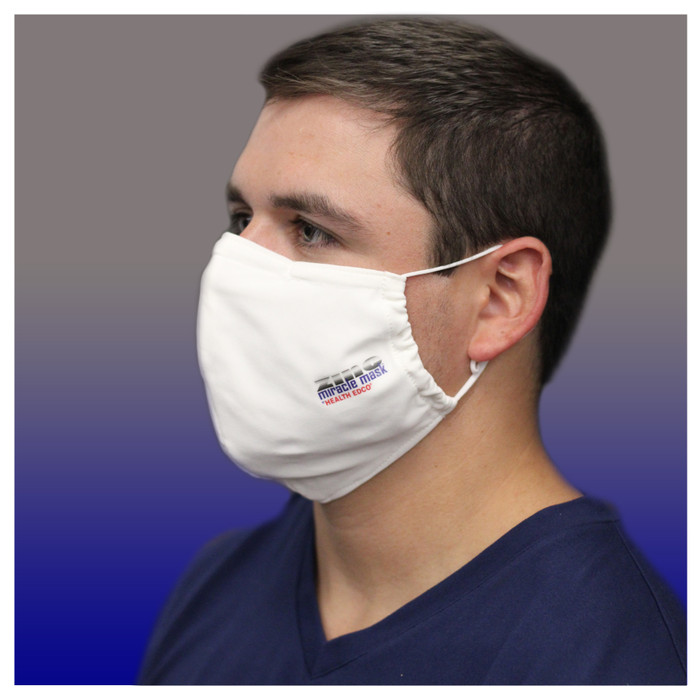 Zinc Miracle Mask by Health Edco, man seen from side wearing white cloth face mask made of strong, zinc-infused fabric, 78847
