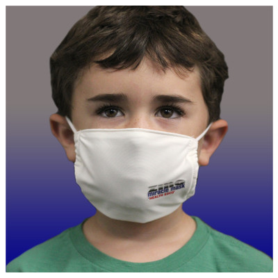Zinc Miracle Mask by Health Edco, young boy wearing youth white cloth face mask made with durable, zinc-infused fabric, 78848