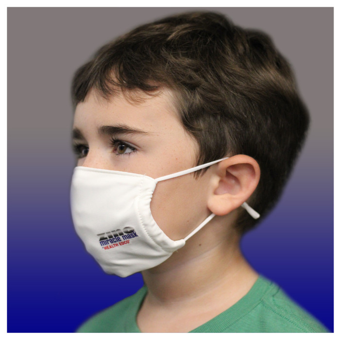 Zinc Miracle Mask by Health Edco, side view of young boy wearing youth white cloth face mask made with durable fabric 78848