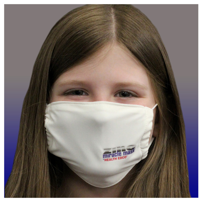 Zinc Miracle Mask by Health Edco, young girl in youth white cloth face mask made with durable, zinc-infused fabric, 78848