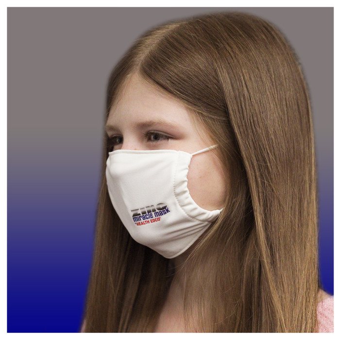 Zinc Miracle Mask by Health Edco, side view of young girl wearing youth white cloth face mask made with durable fabric, 78848
