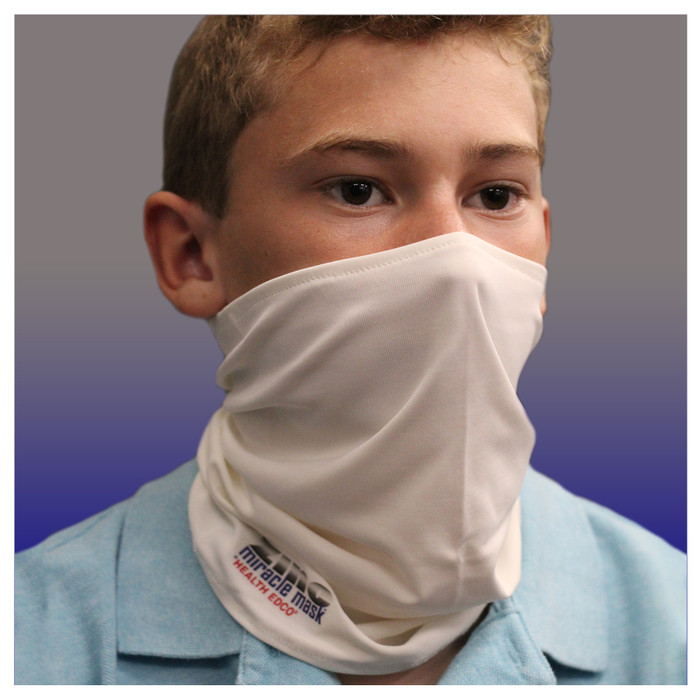 Zinc Miracle Mask Gaiter by Health Edco, front view of boy in one-size-fits-most white gaiter protective face covering 78865