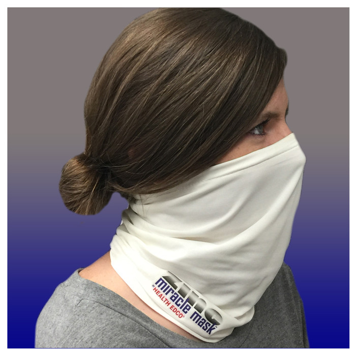 Zinc Miracle Mask Gaiter by Health Edco, side view of woman in one-size-fits-most white gaiter protective face covering 78865