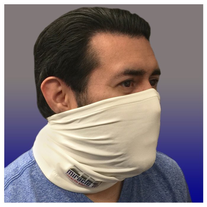 Zinc Miracle Mask Gaiter by Health Edco, side view of man in one-size-fits-most white gaiter protective face covering 78865