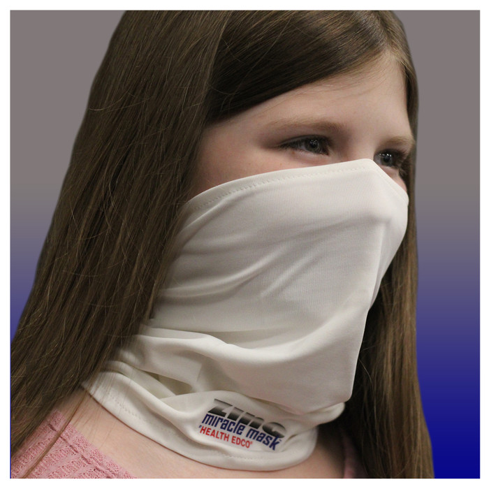 Zinc Miracle Mask Gaiter by Health Edco, young girl wearing white one-size-fits-most protective cloth face covering, 78865