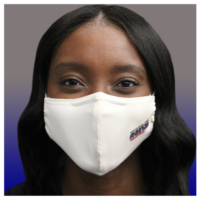 Zinc Miracle Mask by Health Edco, front view of young woman wearing one-size-fits-most cloth fabric face mask, 78866