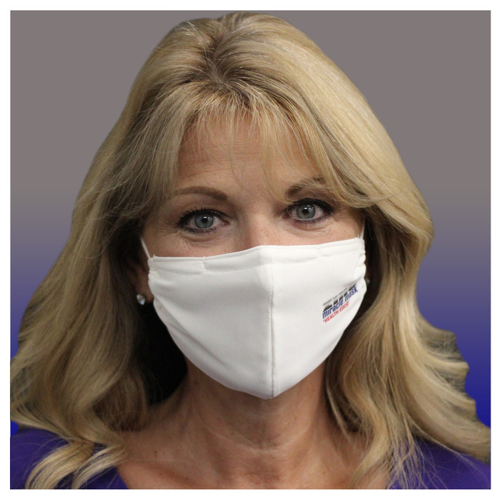 Zinc Miracle Mask by Health Edco, front view of woman wearing one-size-fits-most white cloth fabric face mask, 78866