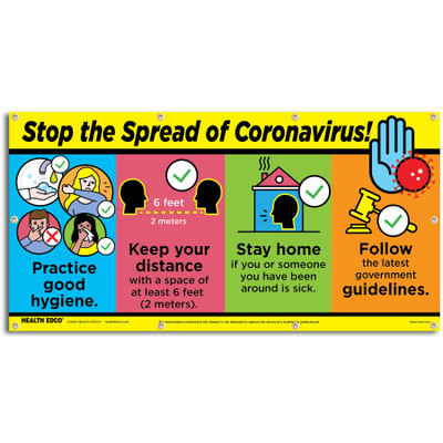 Stop the Spread of Coronavirus Banner for health education from Health Edco providing steps to stop spread of COVID-19, 78885