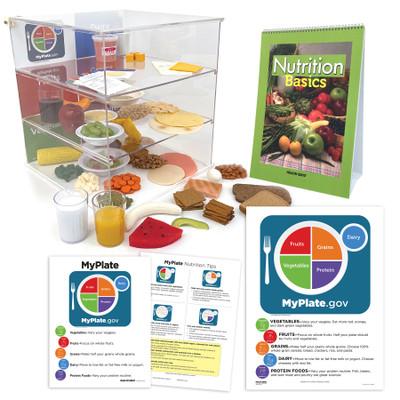 MyPlate Teaching Kit, plexiglas box for food groups food models flip chart tear pad MyPlate chart, Health Edco, 78969