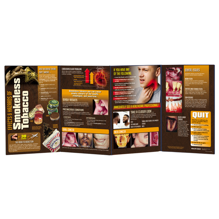 Effects & Hazards of Smokeless Tobacco Folding Display for health education by Health Edco with graphic cancer images, 79074