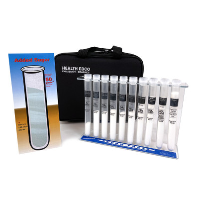 Sugar Facts Test Tubes, health education and nutrition education test tube teaching set with case, Health Edco, 79128