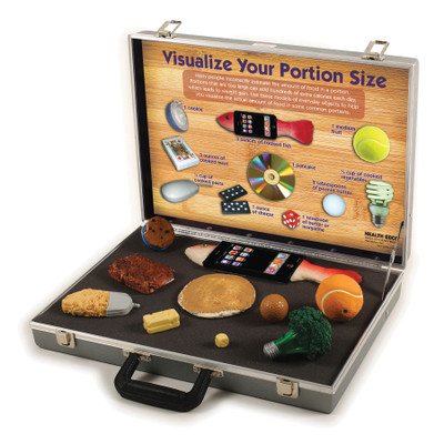 Visualize Your Portion Size Nutrition Education Display with models of common items showing food portions, Health Edco, 79204