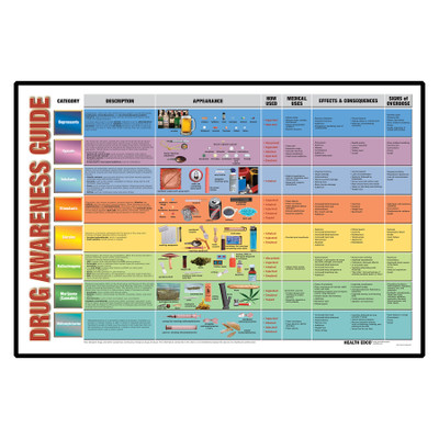 Drug Awareness Guide Display for health education by Health Edco, comprehensive drug categories and abused drugs list, 79220
